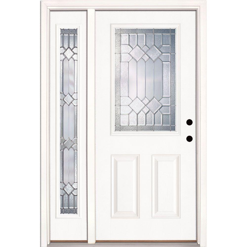 Feather River Doors 50.5 in. x 81.625 in. Mission Pointe Zinc 1/2 Lite Unfinished Smooth Left-Hand Fiberglass Prehung Front Door w/ Sidelite