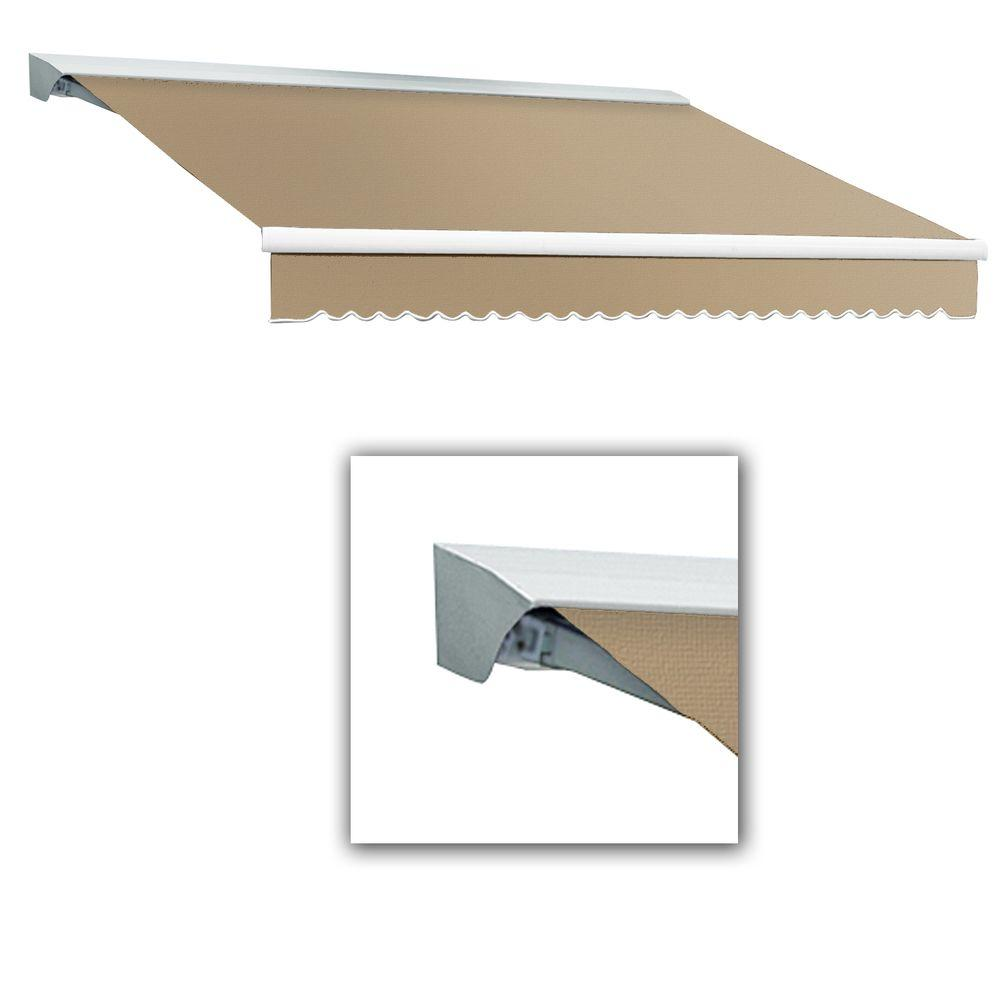 AWNTECH 8 ft. Destin-LX Manual Retractable Acrylic Awning with Hood (84 in. Projection) in Linen Pin