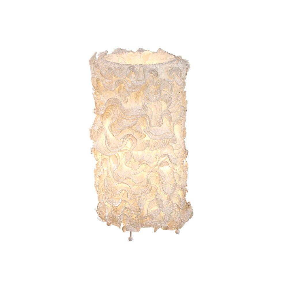 Lumisource 18 in. Ivory Linen Indoor Table Lamp with Fabric Shade