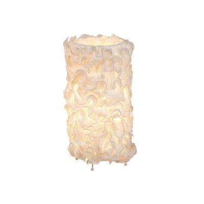18 in. Ivory Linen Indoor Table Lamp with Fabric Shade