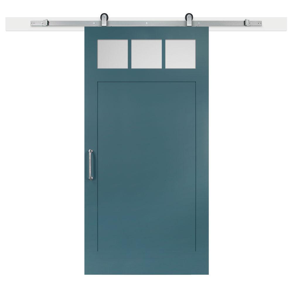 42 in. x 84 in. Pacific Craftsman Privacy 3-Lite Satin Solid-Core MDF Barn Door with Sliding Door Hardware Kit
