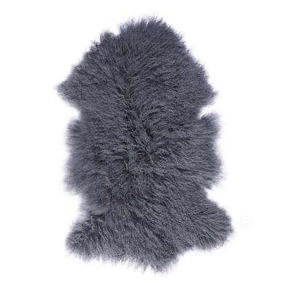 Genuine Mongolian Lamb Fur Sheepskin Natural Grey Single Pelt 24 in. D x 36 in. W Area Rug