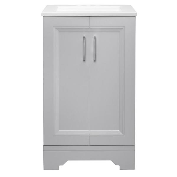 Willowridge 18-1/2 in. W Bath Vanity in Dove Gray with Cultured Marble Vanity Top in White with White Sink