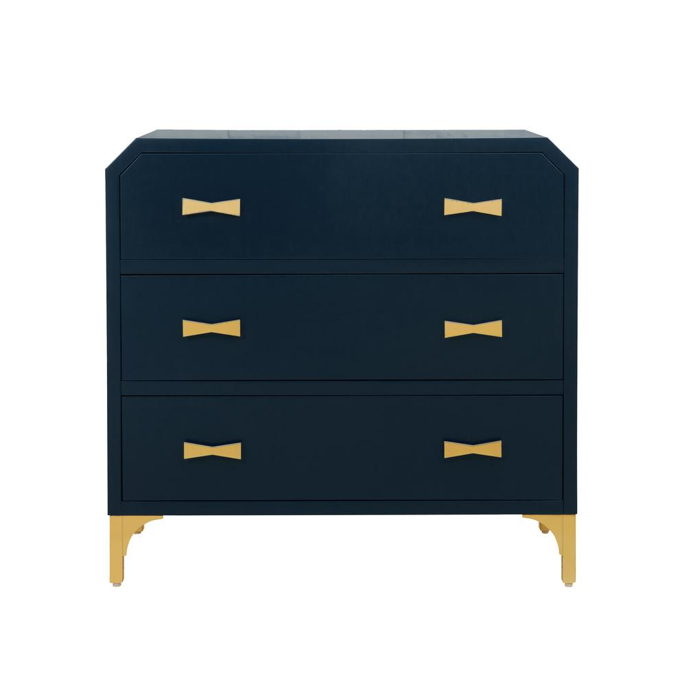 Accentrics Home Clip Corner Blue/Gold Three Drawer Chest