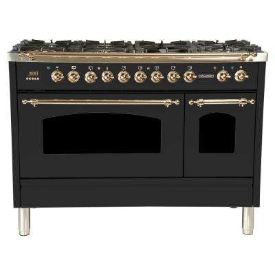 48 in. 5.0 cu. ft. Double Oven Dual Fuel Italian Range True Convection, 7 Burners,Griddle, Bronze Trim in Matte Graphite