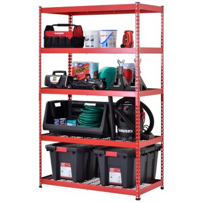 Red/Black 5-Tier Riveted Steel Garage Storage Shelving Unit (48 in. W x 78 in. H x 24 in. D)
