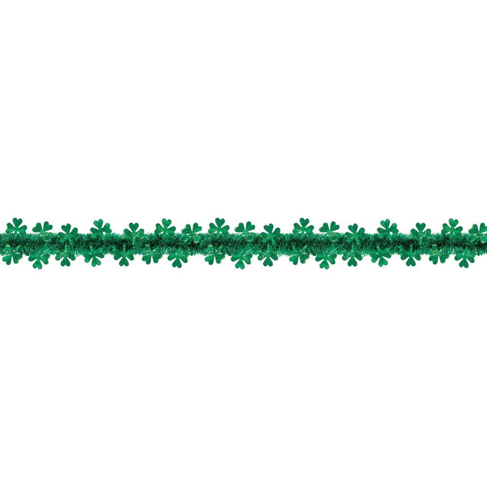 2 in. x 20 ft. St. Patrick's Day Green Tinsel Shamrock