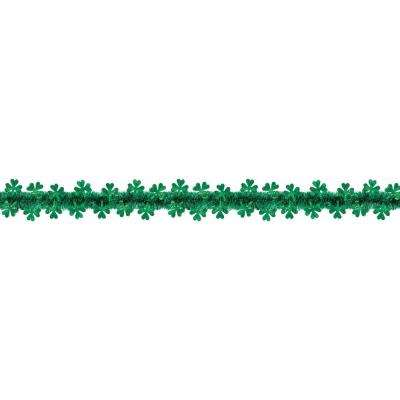 2 in. x 20 ft. St. Patrick's Day Green Tinsel Shamrock Garland