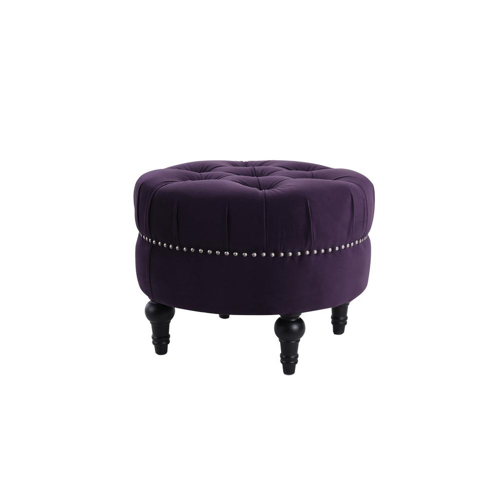 Dawn Purple Tufted Round Ottoman