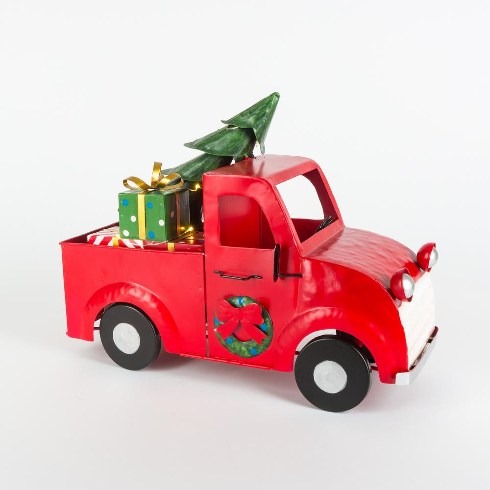 Home Accents Holiday 14 in. L Christmas Metal Truck With Christmas Tree and Lights