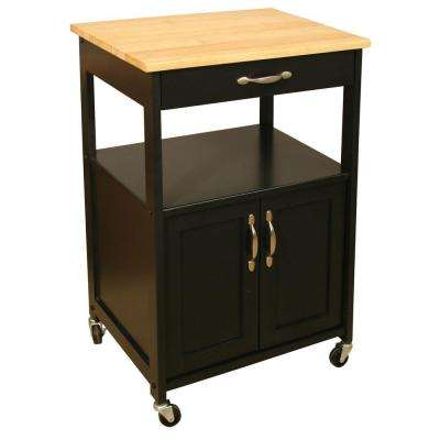 Black Kitchen Cart with Storage