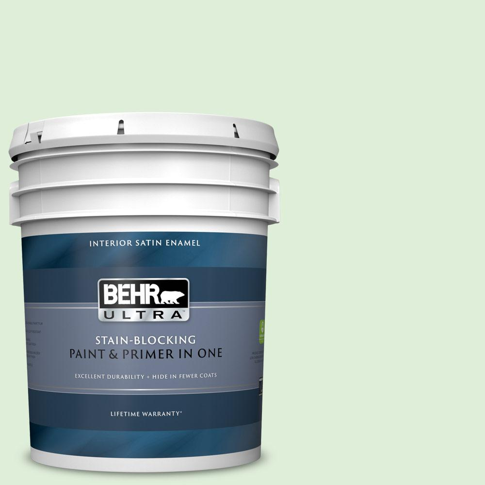 Behr Ultra 5 Gal 440c 2 Cucumber Crush Satin Enamel Interior Paint And Primer In One 775005 The Home Depot