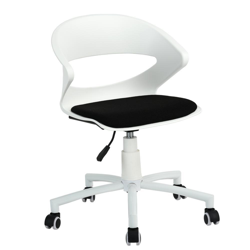 Dot White PP Adjustable Height Swivel Desk Chair