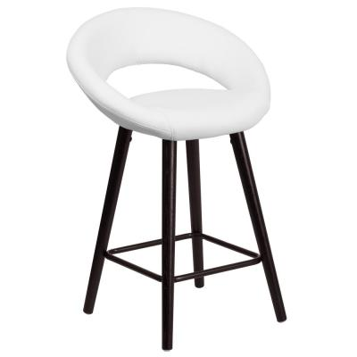 24.5 in. Cappuccino and White Cushioned Bar Stool