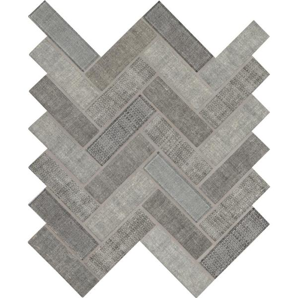 Textalia Herringbone 12.8 in. x 11.02 in. x 6mm Glass Mesh-Mounted Mosaic Tile (14.7 sq. ft. / case)