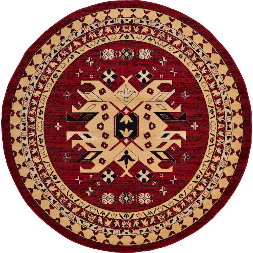 Unique Loom Taftan Oasis Red 8' 0 x 8' 0 Round Rug
