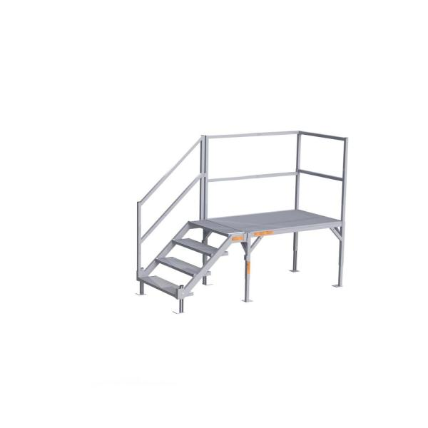 FORTRESS 27.5 in. to 42.5 in H OSHA Compliant Aluminum 4-Riser Stair System with Platform
