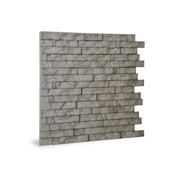 24'' x 24'' Ledge Stone PVC Seamless 3D Wall Panels in Portland Cement 9-Piece