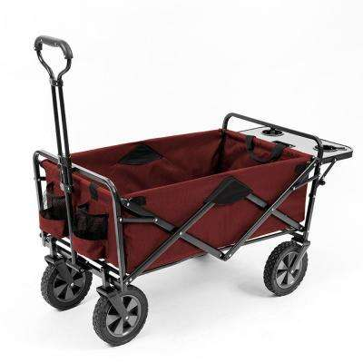 Collapsible Folding Outdoor Garden Utility Wagon with Table, Maroon