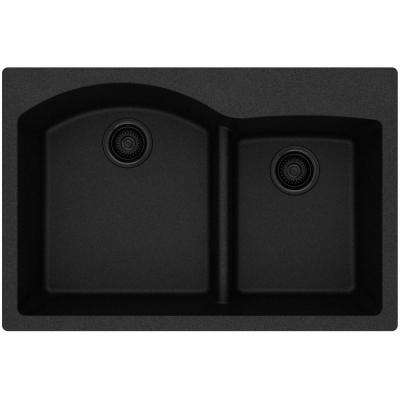 Quartz Classic Drop-In Composite 33 in. Rounded Offset Double Bowl Kitchen Sink in Black