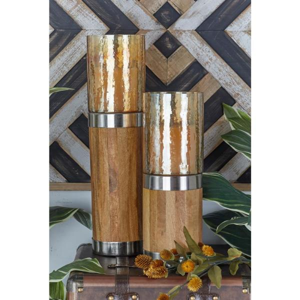 Litton Lane Brown Wood and Metal Plank-Style Candle Holders (Set of