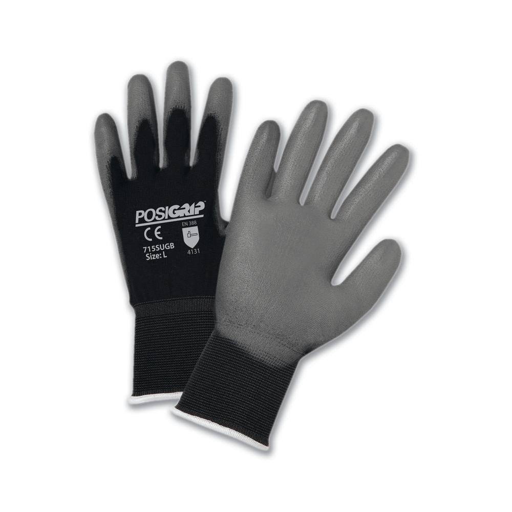 Gray PU Palm Black Dip Nylon Shell Gloves - Dozen Pair-Large