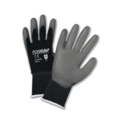 Gray PU Palm Black Dip Nylon Shell Gloves - Dozen Pair-Small