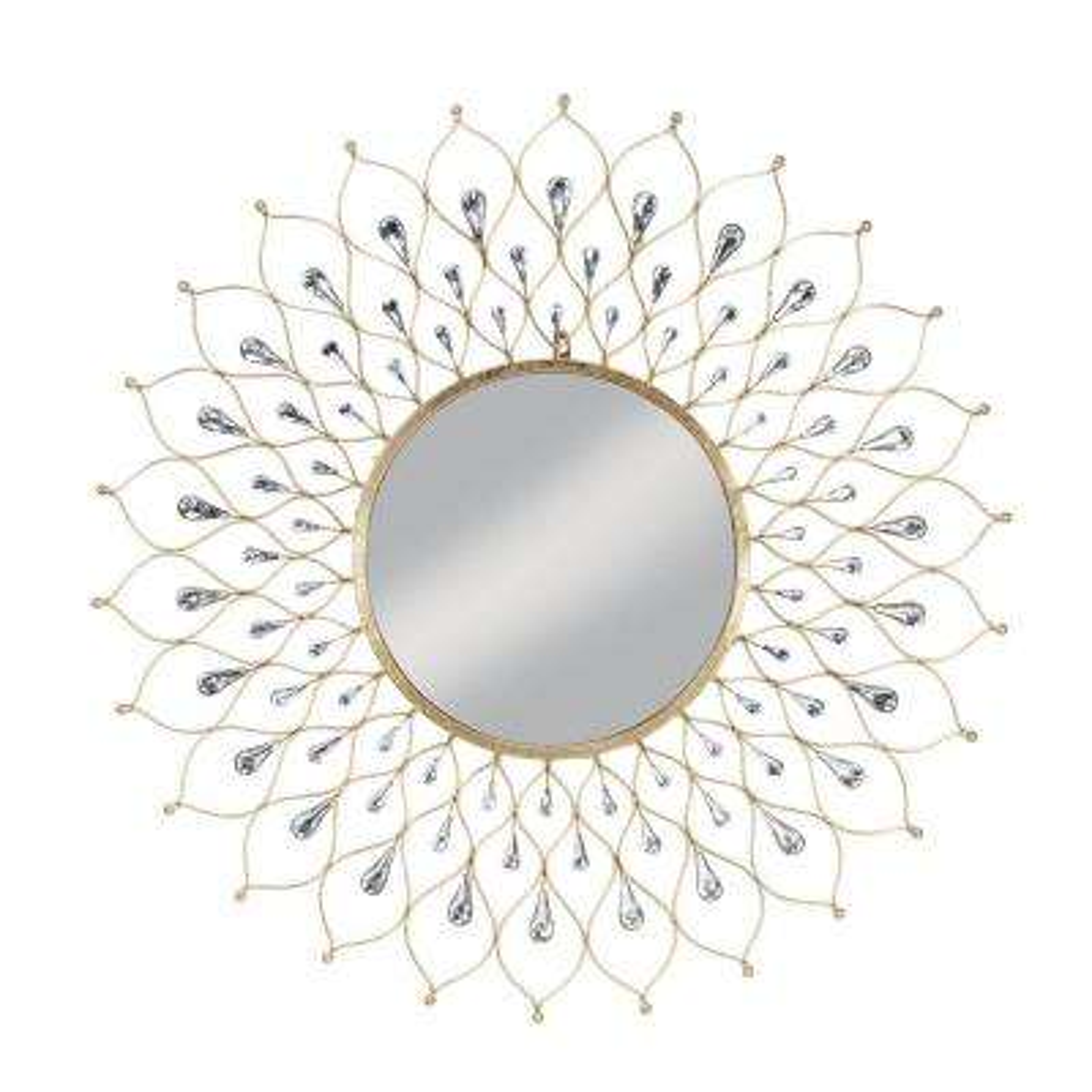 Medium Sunburst Antiqued Gold Antiqued Modern Mirror (34.5 in. H x 34.5 in. W)