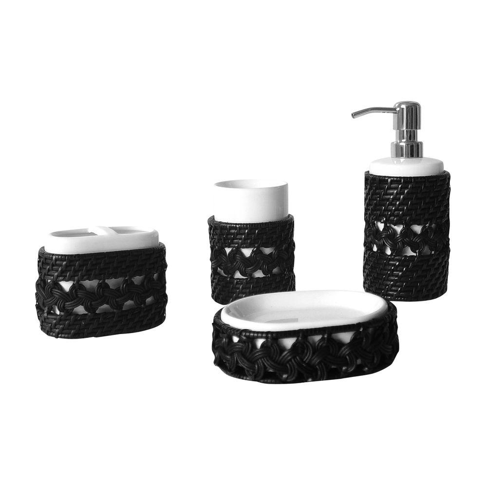 Tahiti 4-Piece Complete Bath Set in Espresso
