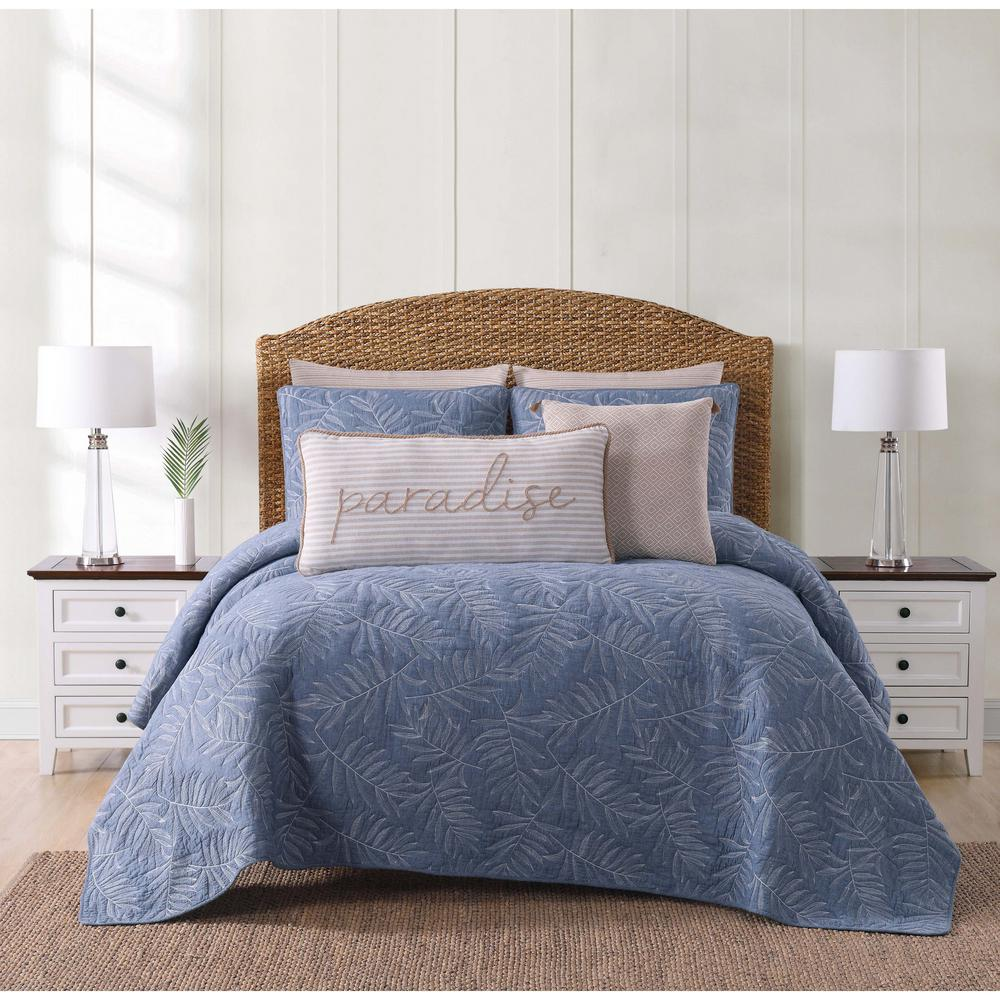 Oceanfront Resort Chambray Coast Blue King Quilt Set