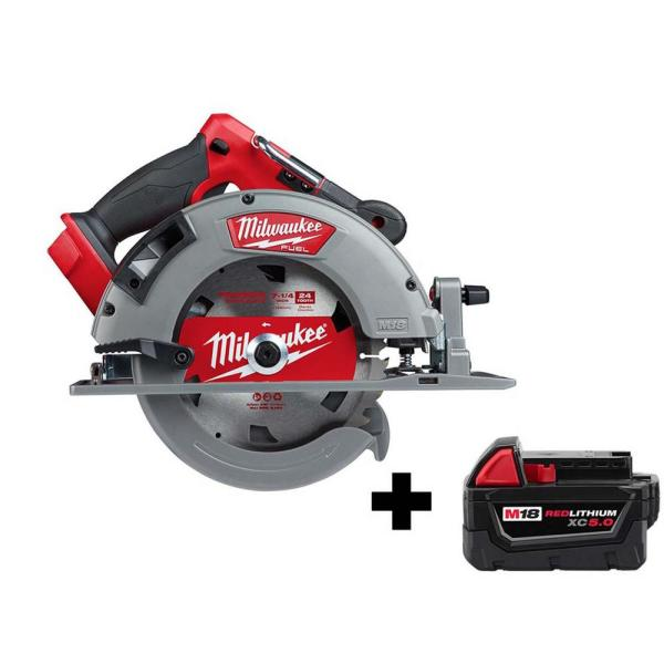 Milwaukee M18 FUEL 18-Volt 7-1/4 in. Lithium-Ion Brushless Cordless Circular Saw with Free M18 5.0 Ah Battery