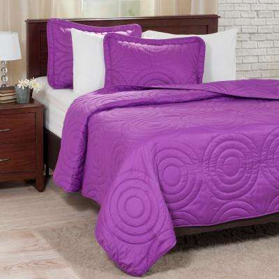 Embossed Purple Polyester King Quilt