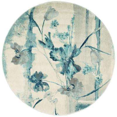 Somerset Ivory/Blue 6 ft. x 6 ft. Round Area Rug