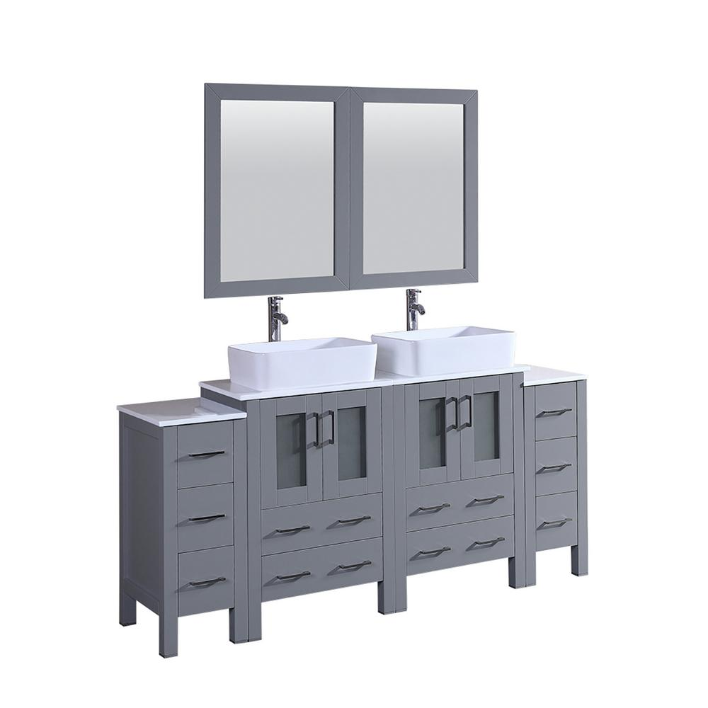 W Double Bath Vanity In Gray With Vanity