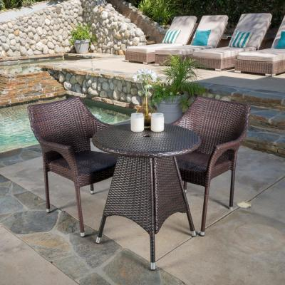 Nia Multi-Brown 3-Piece Wicker Round Outdoor Dining Set with Stacking Chairs