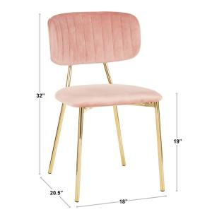 Peachy Lumisource Bouton Gold And Pink Velvet Dining Chair Set Of Uwap Interior Chair Design Uwaporg