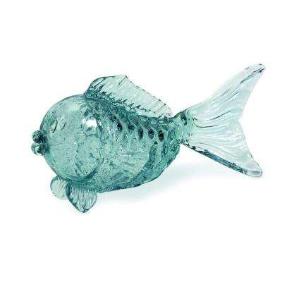 Lenor 5.75 in. Glass Fish Decorative Statue in Pale Blue