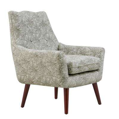 Dale Gray Modern Outline Floral Mid-Century Modern Arm Chair