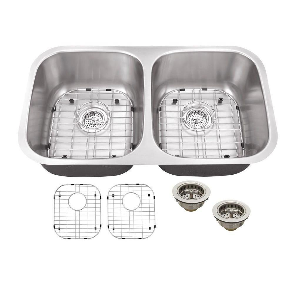 Schon All-in-One Undermount Stainless Steel 32 in. Double Bowl ...