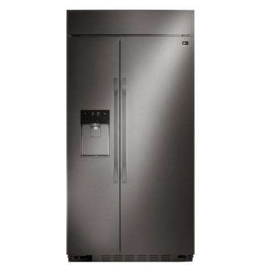 42 in. W 25.6 cu. ft. Built-In Side by Side Refrigerator in Black Stainless Steel