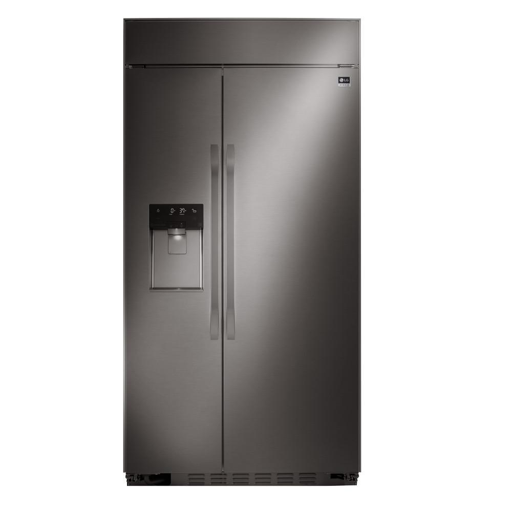 42 in. W 25.6 cu. ft. Built-In Side by Side Refrigerator in Black Stainless Steel