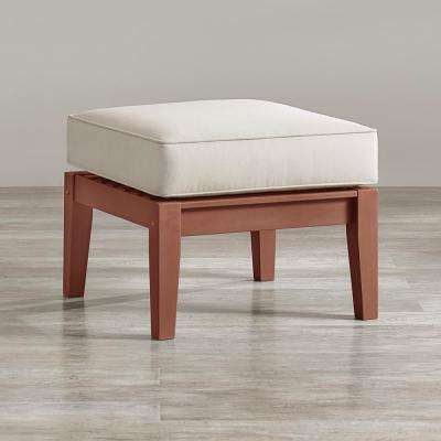 Verdon Gorge Brown Oiled Wood Outdoor Ottoman with Sunbrella Blue Cushion