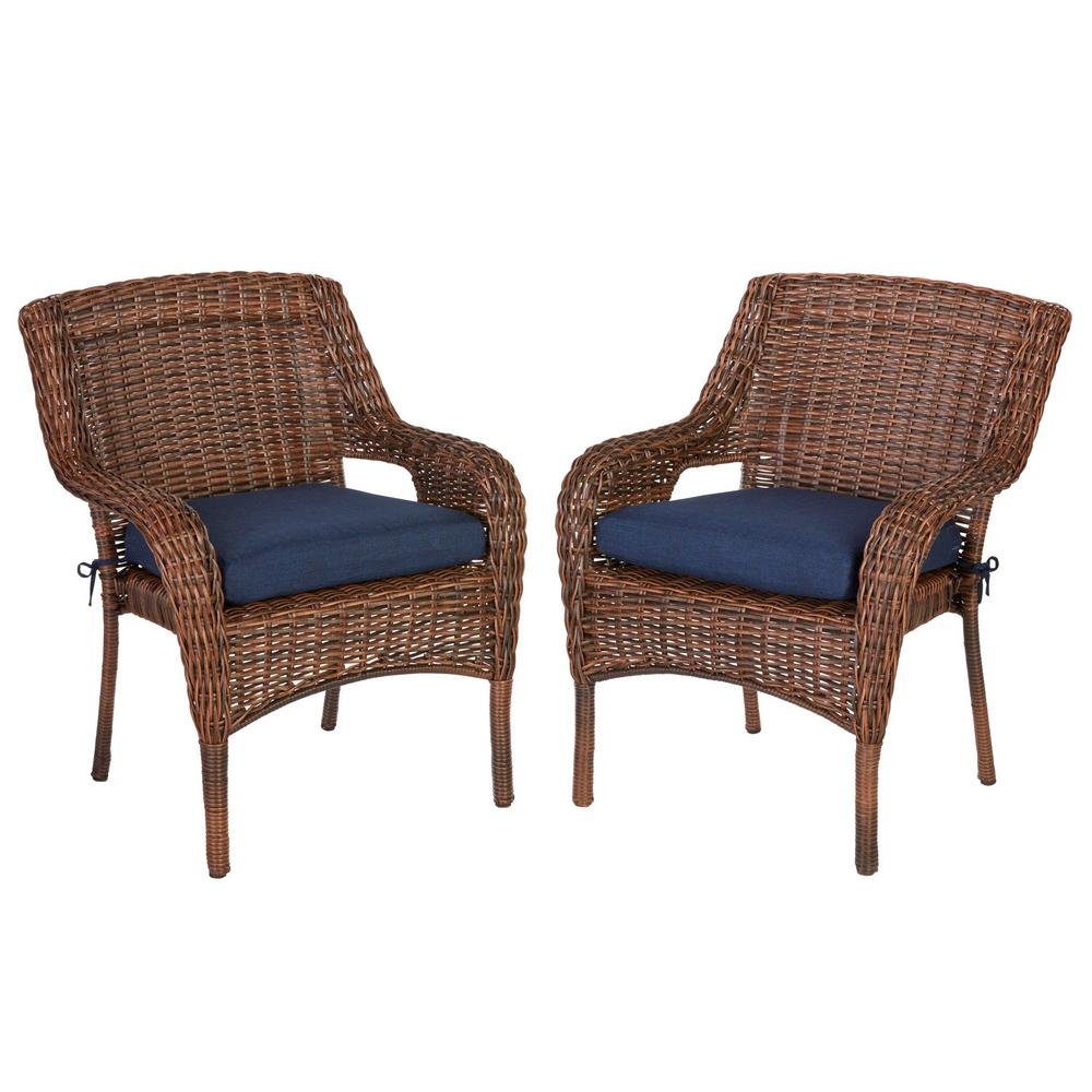 Hampton Bay Cambridge Brown Wicker Outdoor Dining Chair With Blue Cushion 2 Pack
