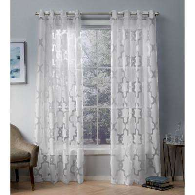Essex 52 in. W x 108 in. L Sheer Grommet Top Curtain Panel in Winter White (2 Panels)