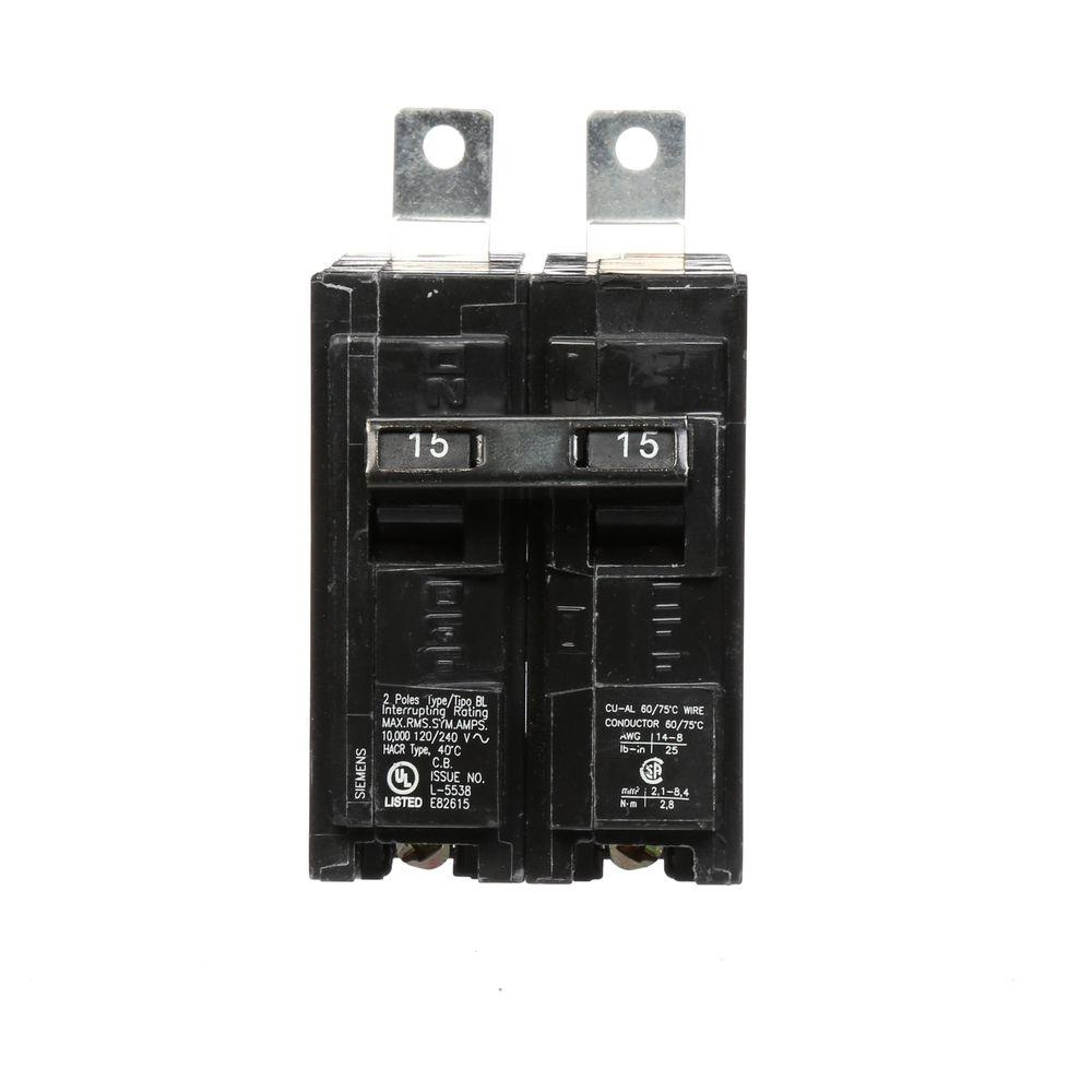 siemens 15 amp double pole type bl 10 ka bolt on circuit breaker b215 the home depot. Black Bedroom Furniture Sets. Home Design Ideas