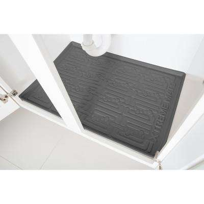 Grey Kitchen Depth Under Sink Cabinet Mat Drip Tray Shelf Liner (33-5/8 in. x 21-7/8 in. )