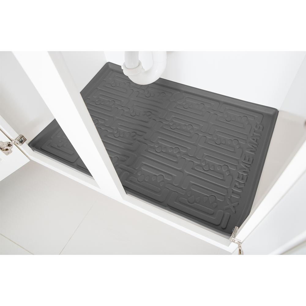 Xtreme Mats Grey Kitchen Depth Under Sink Cabinet Mat Drip Tray Shelf Liner 30 5 8 In