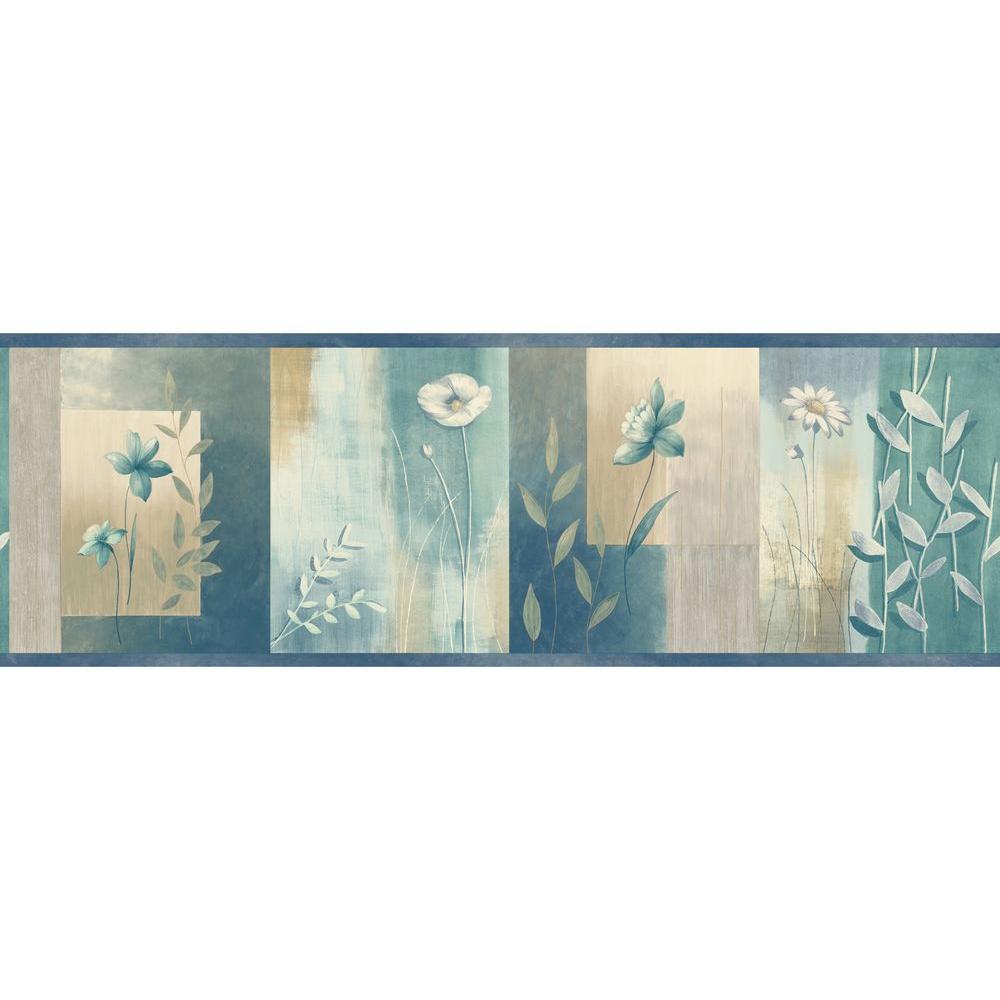 Bonnard Turquoise Colorblock Floral Wallpaper Border Sample