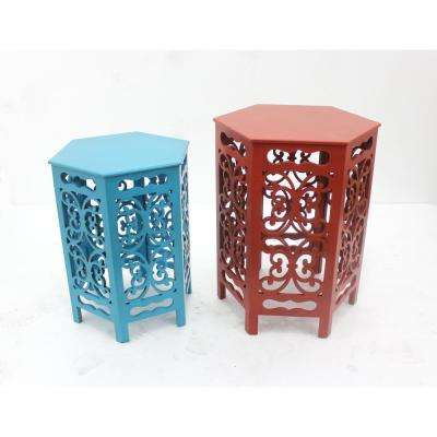 Multi-Color Wood End Table (Set of 2)