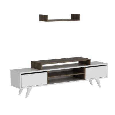 Thome White and Walnut Modern TV Stand